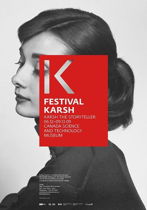 Carteles del festival de Karsh de Charley Masseir. Diseños de color rojo pasión
