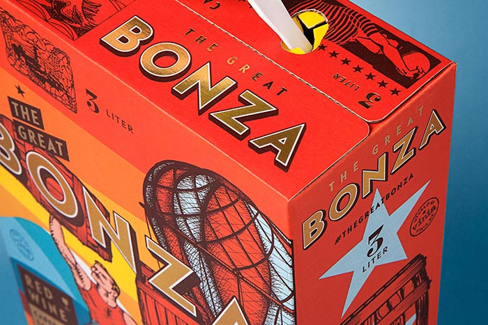 Packaging vino original creativo Great Bonza wine