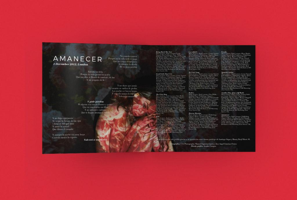 Diseño de portada del disco Loveaholic. Ruth Lorenzo. Juanka Campos